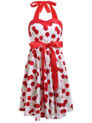 Vintage Halterneck Cherry A-Line Dress For Women - WHITE M