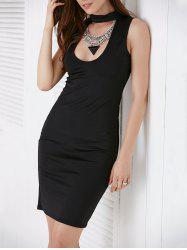Low Cut Choker Bodycon Sheath Dress - BLACK