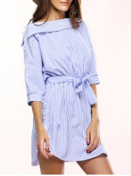 Simple Skew Neck 3/4 Sleeve Striped Dress For Women