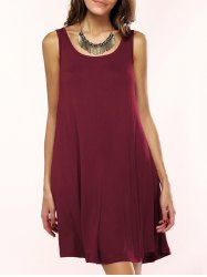 Tank A Line Casual Everyday Dress - WINE RED L