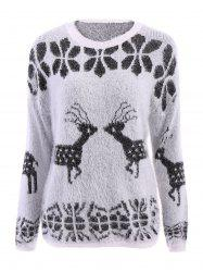 Stylish Scoop Neck Deer Pattern Long Sleeve Women's Christmas Sweater - WHITE ONE SIZE(FIT SIZE XS TO M)