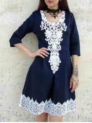 Women's Stylish Half Sleeve Lace Splicing Round Neck A-Line Dress -