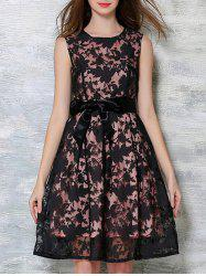 Bowknot Decorated Sleeveless Dress - BLACK AND PINK M