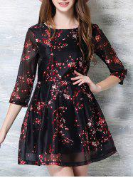 3/4 Sleeve Floral Print Party Dress -