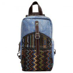 Leisure Patchwork and Buckle Design Backpack For Men - DENIM BLUE