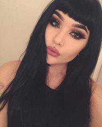 Ladylike Long Straight Black Full Bang Women's Synthetic Hair Wig