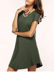 Asymmetric Shorts Sleeve Casual T-Shirt Dress - ARMY GREEN