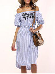 Flowers Striped Off The Shoulder Shirt Dress - LIGHT BLUE