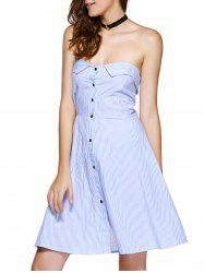 Elegant Strapless Striped High Waist Homecoming Dress -