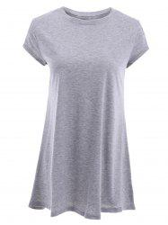 Stylish Round Neck Short Sleeve Gray T-Shirt For Women