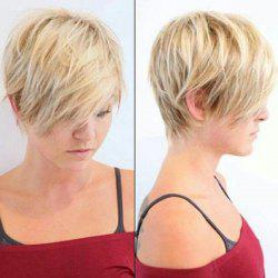 Fluffy Straight Layered Capless Vogue Short Mixed Color Human Hair Wig For Women -