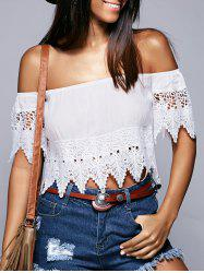 Off The Shoulder Lace Crochet Trim Blouse - WHITE L
