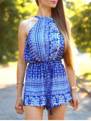 Tribal Pattern Back Hollow Out Strappy Romper -