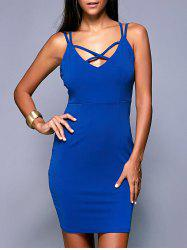 Criss-Cross Backless Zippered Dress - BLUE