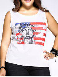 Plus Size Casual Portrait Print Tank Top