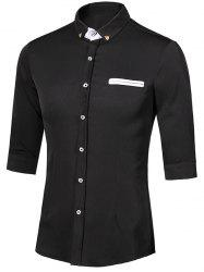 Turn-Down Collar Metal Detail Button-Down Three-Quarter Sleeves Shirt For Men
