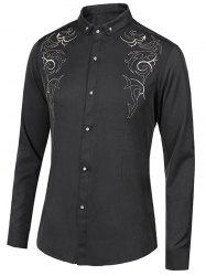 Floral Embroidery Turn-Down Collar Long Sleeve Button-Down Shirt For Men