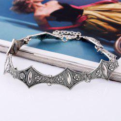 Vintage Embossed Floral Geometric Choker Necklace - SILVER