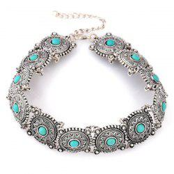 Bohemian Faux Gem Engraved Floral Choker Necklace