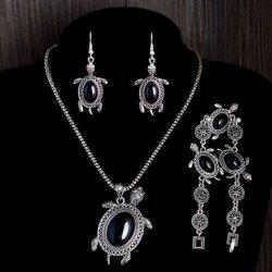 A Suit of Vintage Faux Gem Tortoise Jewelry Set -