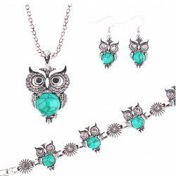 A Suit of Faux Gem Owl Jewlry Set -