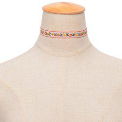 Ethnic Embroidered Floral Choker - WHITE