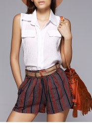 Chic Sleeveless Blouse + Striped Shorts Twinset For Women -