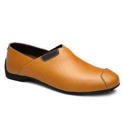 Simple Color Splicing and PU Leather Design Casual Shoes For Men -
