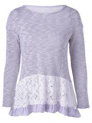 Casual Long Sleeves Scoop Neck Lace Splicing Flounce T-Shirt For Women -