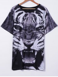Stylish Tiger Printed T-Shirt For Women - COLORMIX L