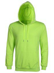 Casual Solid Color Ribbed Hem Long Sleeve Hoodie For Men - APPLE GREEN