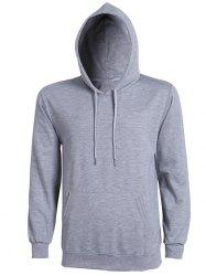 Casual Solid Color Ribbed Hem Long Sleeve Hoodie For Men