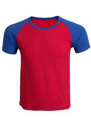 Cotton Blends Round Neck Color Block Splicing Raglan Sleeve T-Shirt For Men