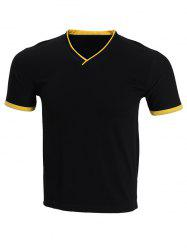Cotton Blends V-Neck Short Sleeve Spliced Design T-Shirt For Men