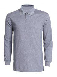 Turn-Down Collar Solid Color Long Sleeve T-Shirt For Men - GRAY