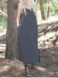 Fashionable Spaghetti Strap Polka Dot Maxi Dress For Women -