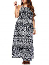 Chic Women's Geometrical Printed Sleeveless Plus Size Dress - COLORMIX 3XL