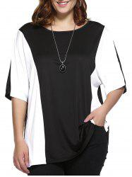 Plus Size Color Block Blouse - WHITE AND BLACK