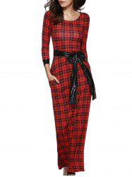 Retro Women's Plaid Belted Maxi Dress