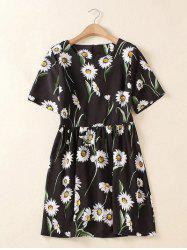 Plus Size Chic Floral Printed Ruched Dress