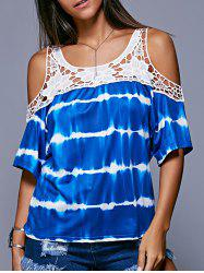 Stylish Cold Shoulder Tie Dye Crochet Women's Blouse -