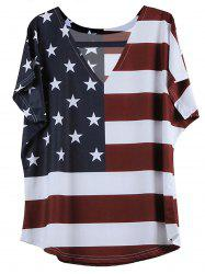 V-Neck Short Sleeve Distressed American Flag T-Shirt - BLUE AND RED