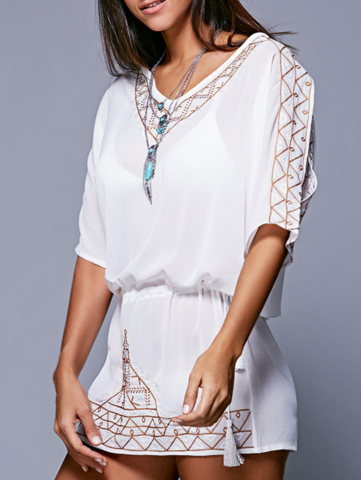 Bohemian Style Embroidery Lace-Up Cover-Up XL