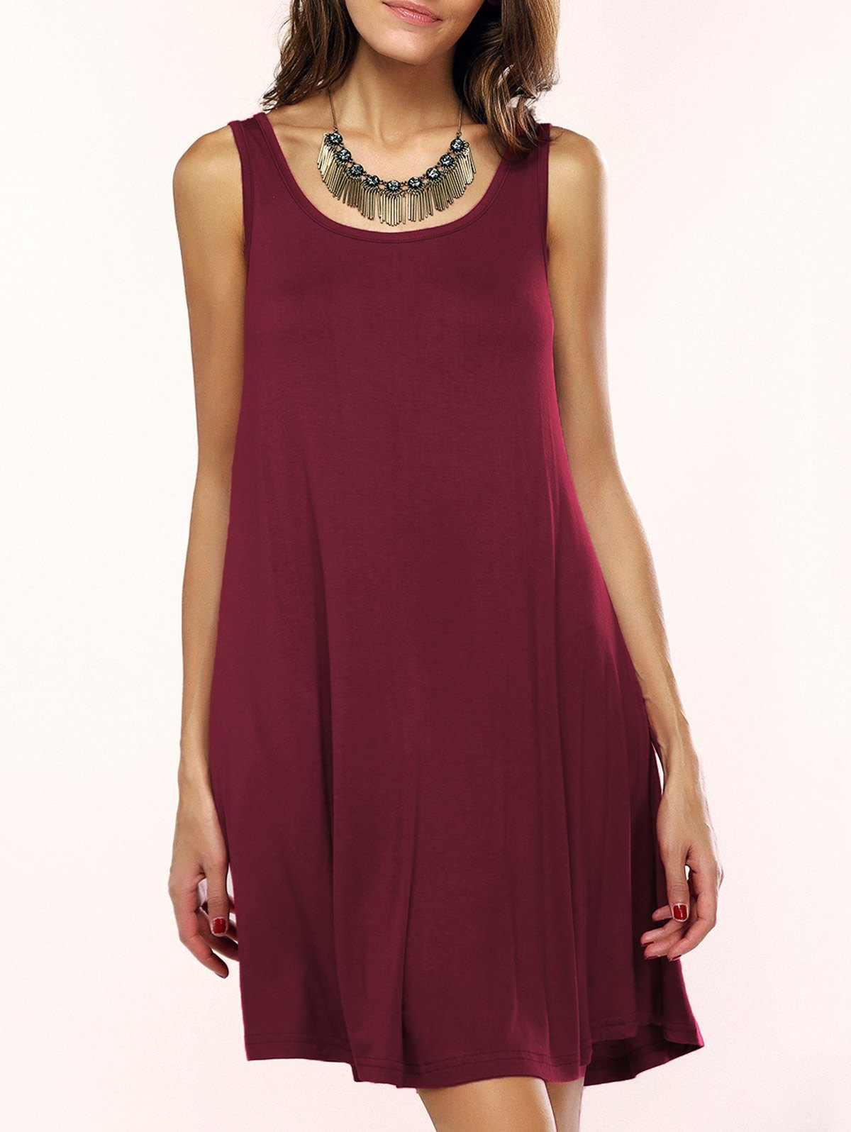 Tank A Line Casual Everyday DressWOMEN<br><br>Size: XL; Color: WINE RED; Style: Casual; Material: Nylon,Polyester,Spandex; Silhouette: A-Line; Dresses Length: Mini; Neckline: Scoop Neck; Sleeve Length: Sleeveless; Pattern Type: Solid; With Belt: No; Season: Summer; Weight: 0.210kg; Package Contents: 1 x Dress;