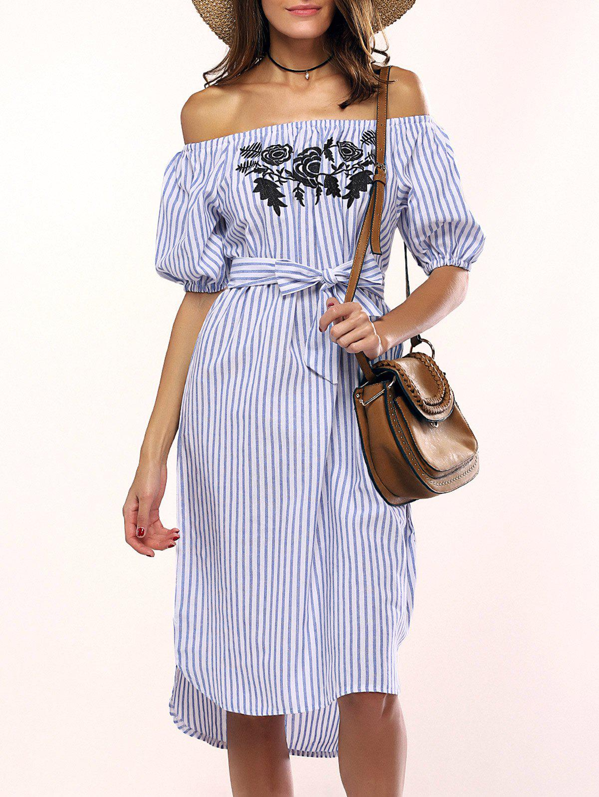 Flowers Striped Off The Shoulder Shirt DressWOMEN<br><br>Size: ONE SIZE; Color: LIGHT BLUE; Style: Brief; Material: Cotton,Polyester; Silhouette: A-Line; Dresses Length: Mid-Calf; Neckline: Off The Shoulder; Sleeve Type: Puff Sleeve; Sleeve Length: Short Sleeves; Embellishment: Flowers; Pattern Type: Striped; With Belt: Yes; Season: Summer; Weight: 0.245kg; Package Contents: 1 x Dress  1 x Belt;