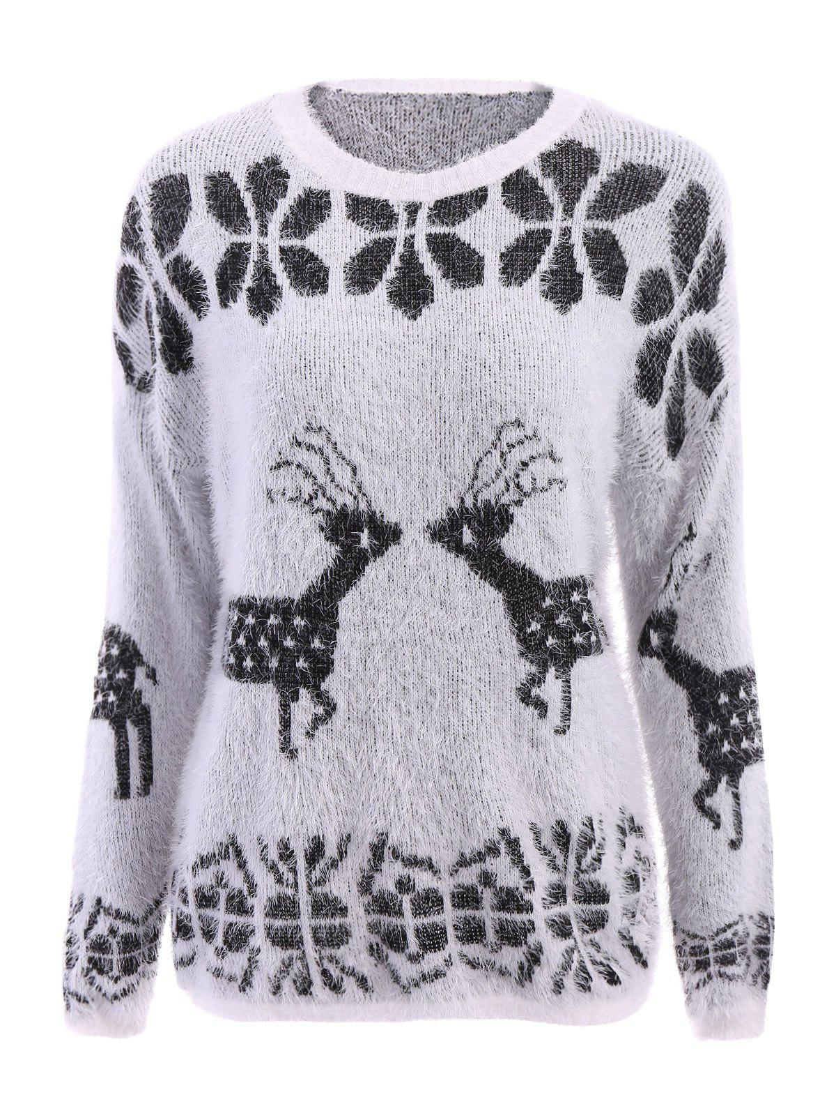 Stylish Scoop Neck Deer Pattern Long Sleeve Womens Christmas SweaterWOMEN<br><br>Size: ONE SIZE(FIT SIZE XS TO M); Color: WHITE; Type: Pullovers; Material: Polyester; Sleeve Length: Full; Collar: Scoop Neck; Style: Fashion; Weight: 0.410kg; Package Contents: 1 x Sweater;