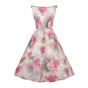 Retro Slash Neck Floral Print Fit and Flare Dress