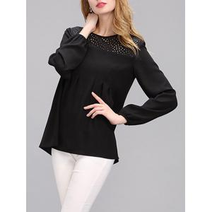 Simple Women's Hollow Out Puff Sleeves Spliced Chiffon Blouse - Black - Xl