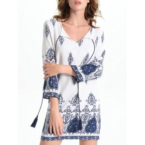 Bell Sleeve Cut Out Print Crochet Trim Peasant Dress - White - M
