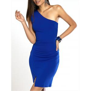 One Shoulder Solid Color Bodycon Prom Dress - Blue - M